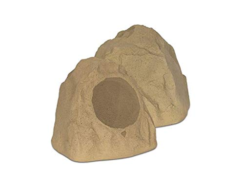 "Theater Solutions 2R8S Outdoor Sandstone 8"" Rock 2 Speaker Set for Deck Pool Spa Yard Garden"