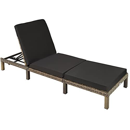tectake 403686 Polyrattan Sonnenliege Gartenliege | inkl. Polsterauflage | 5 Stufen verstellbare Rückenlehne, Natur