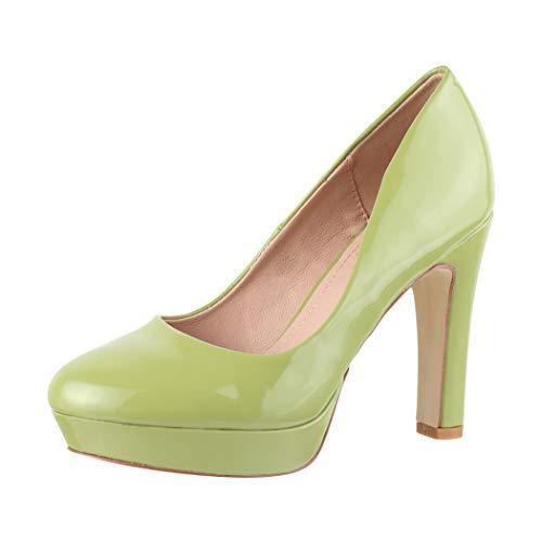 Elara Plateau Pumps Damen High Heels Stiletto Spitz Schuhe Chunkyrayan 7263-Gl Green-38