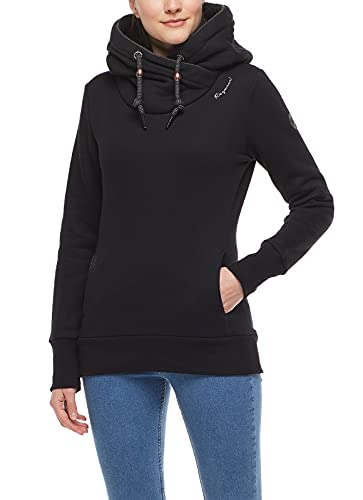 Ragwear GRIPY - Sudadera con capucha para mujer, cuello alto, capucha, cálida, bolsillos laterales, corte regular, color negro, XXL