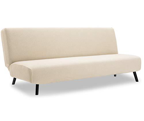 TIANSHU Sofabezug ohne armlehnen 3 sitzer,Spandex Couchbezug ohne armlehne Elastischer Antirutsch Stretchhusse Weich Stoff(Ohne armlehnen,Beige)