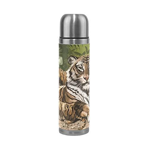 Eslifey Tigers - Termo de acero inoxidable aislado a prueba de fugas (500 ml)