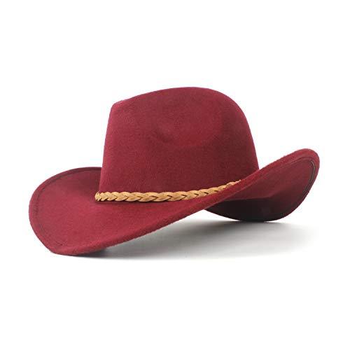 SSHZJUS Moda Mujer Lana de Invierno Fieltro Sombrero de Vaquero Sombrero Tejido Cuerda Sombrero Hombres (Color : Deep Red, Size : 56-59cm)