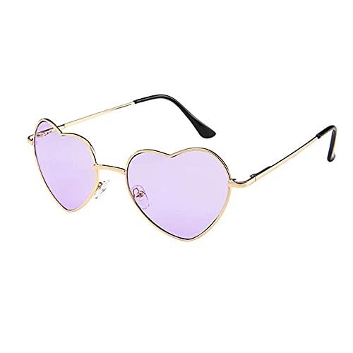Muium(TM) Gafas de sol con forma de corazón, para mujer, bonito diseño de corazón, gafas de sol polarizadas vintage, gafas de sol de moda con marco de metal, gafas de sol hippie y accesorios