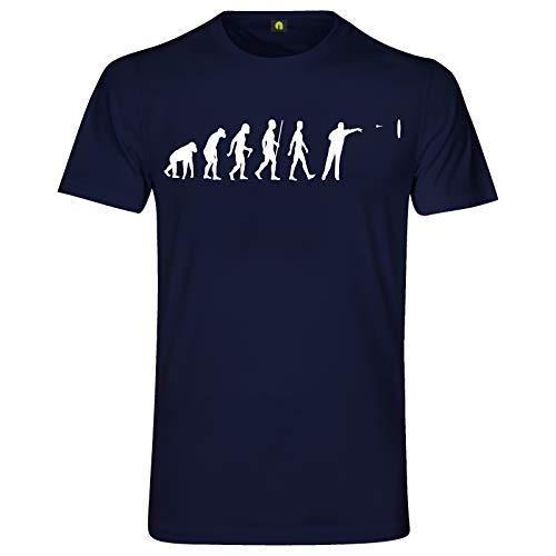 Evolution Dart T-Shirt | Sport | Scheibe | Pfeil | Dartpfeile | Turnier Navy Blau L