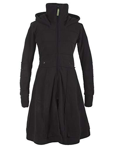 Vishes - Alternative Bekleidung - Langer Damen Fleecemantel Kapuze Stehkragen schwarz 40