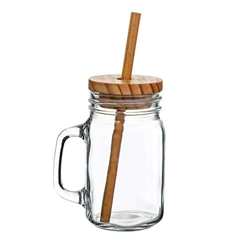 Sass & Belle Glass Mason Jar & Bamboo Straw