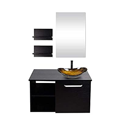 Bathroom Wall Mounted Vanity Cabinet Single Hole Mirror 28-INCH Lavatory Shelf Satin Nickel Handle Dark Espresso (Black) (Set 5)