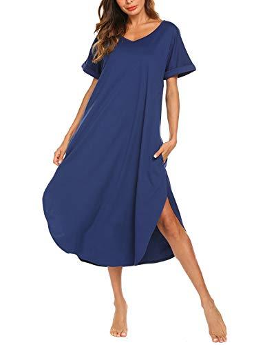 AVIIER Long Nightgowns for Women Cotton Short Sleeve Loungewear Plus Size Pjamas Dress (Blue, XX-Large)
