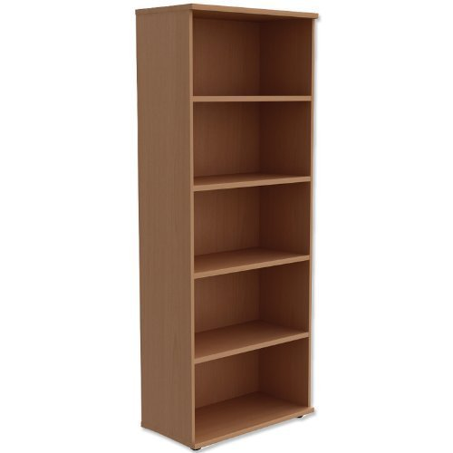 Brand New. Trexus Tall Bookcase with Adjustable Shelves and Floor-leveller Feet W800xD420xH2053mm Beech by Trexus
