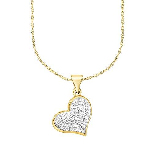 amor Kette mit Anhänger für Damen, Gold 375, Kristallglas, Herz