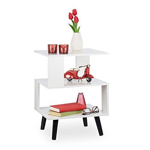 Relaxdays Beistelltisch, 3 Ablagen, eckig, modernes Design, MDF & Holz, Wohnzimmer, HxBxT: 56x40x40 cm, Sofatisch, weiß