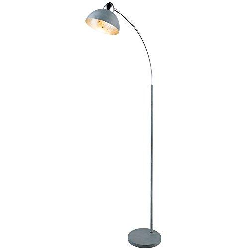 Bogen Stand Leuchte grau Wohn Arbeits Zimmer Blattsilber Steh Spot Lampe verstellbar Globo 24703SG