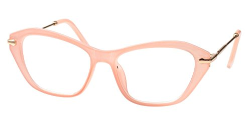 SOOLALA Womens Quality Fashion Alloy Arms Cateye Customized Reading Glasses (Light Pink, 2.25)