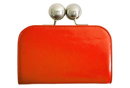 [ラフィカロ] 大玉 がま口 財布 レディース 大容量 牛革 大きい お札入れ 小銭入れ カードポケット 革 レザー ウォレット オレンジ