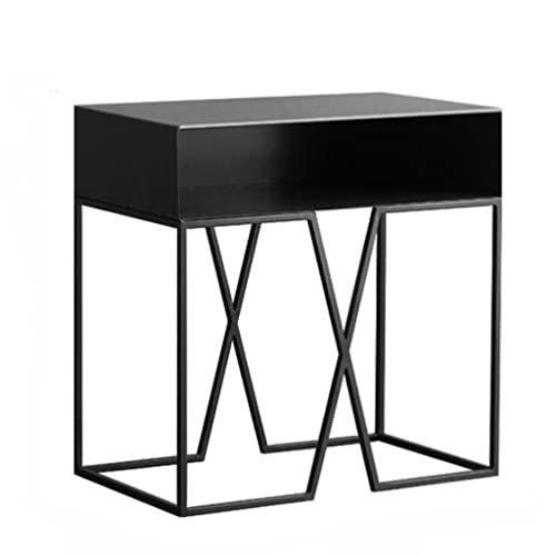 Yanyan Mesita de noche de hierro negro Mesa auxiliar o mesa auxiliar creativa, mesita de noche tipo...
