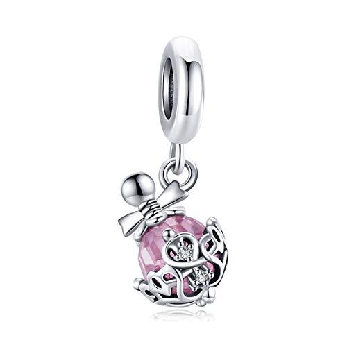 Abalorios de plata de ley con diseño de botella rosa compatible con...