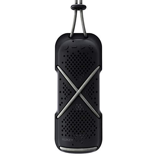 AUKEY Tragbarer Bluetooth Lautsprecher, Spritzwasserfester Outdoor Funklautsprecher mit Dual-Treiber, Kabel & Clip, Freisprechen für iPhone, Samsung Handys usw. (Schwarz)