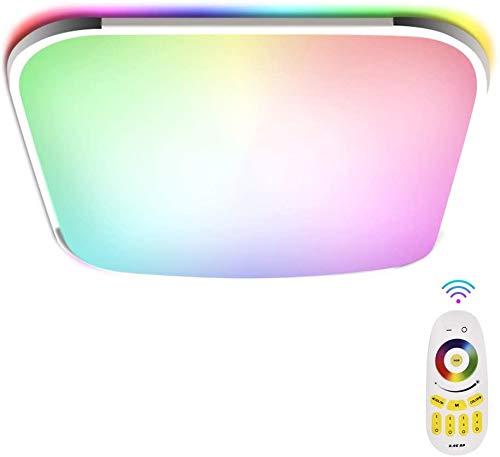Papasbox LED Deckenleuchte Panel Farbwechsel, 24W LED Deckenlampe RGB Dimmbar 2700K-6500K mit Fernbedienung, IP44 Quadratisch Flach Einbauleuchte für Schlafzimmer Wohnzimmer Küche Kinderzimmer
