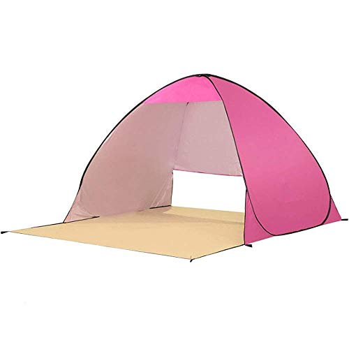 Nuokix Camping Tent, Family Tent Camping Tent 2-3 Person Beach Tent Super Beach Umbrella Outdoor Sun Shelter Cabana Automatic Pop Up Outdoor Tent (Color : Pink)