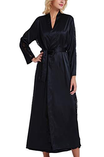 YAOMEI Damen Morgenmantel Bademäntel Satin Kimono, Lang Spitze Nachtwäsche Nachthemd Robe Kimono Negligee Schlafanzug für Spa Hotel Braut Brautjungfer, Party (Büste 108cm, 42,52 Zoll, Schwarz)