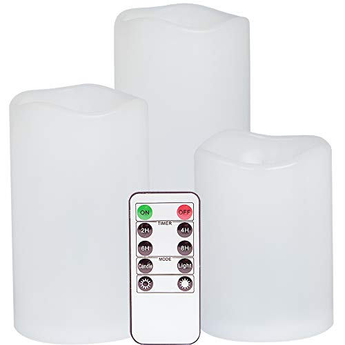 Eldnacele Flameless Flickering Waterproof Candles All Weather Battery Operated LED Candles with Remote Control and Timer Heat Reistant Candles for Outdoor & Indoor Decoration Set of 3