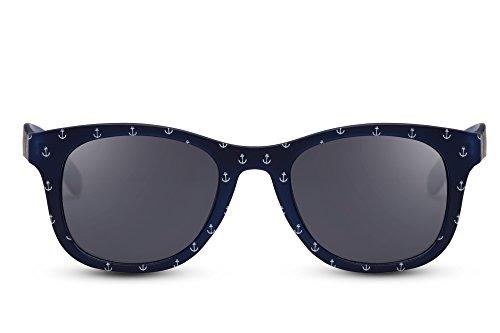 Cheapass Gafas de sol Azul Blanco Gris Lentes UV 400 Anchor Hipster Gafas Nerd Plastic Womens Hombres