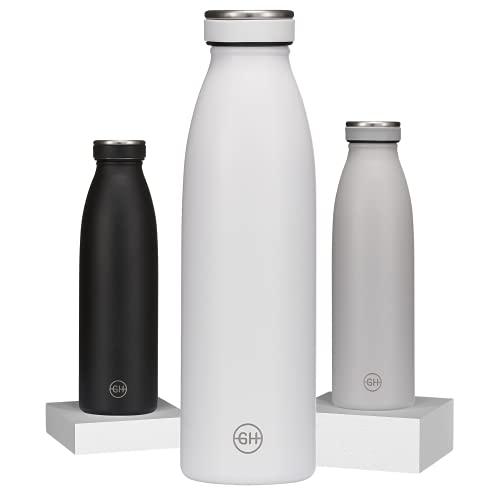 GH Borraccia Termica 500ml Essenza Bianca  Bottiglia d'Acqua Acciaio Inox Thermos  Bottiglia per Acqua Isolamento Sottovuoto  Doppia parete isolato Termica Bottiglia Senza BPA Bottiglia riutilizzabile