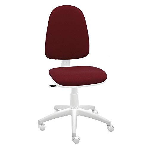 Silla giratoria Blanca de Oficina y Escritorio, Modelo Torino, diseño 100% Blanco ergonómico con Contacto Permanente (Burdeos)