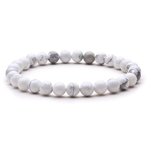 J.Fée Edelstein Armband Perlenarmband Armband aus Naturstein Perlen Yoga Armband Armband aus Naturstein 6mm Rundes Perlenarmband Howlith Armband Schmuck Geschenk für Mutter Liebhaber Damen Herren