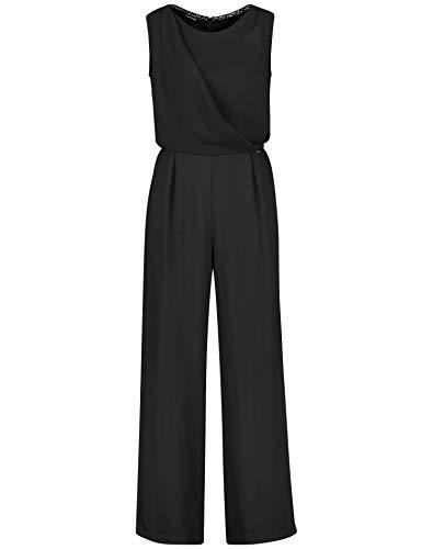 Taifun Damen Jumpsuit mit Wickel-Effekt figurumspielend, tailliert Black 40