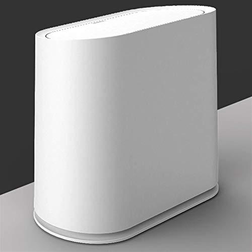 MotBach Basura Can Basura de plástico, Estilo nórdico y diseño de polea, Cocina de baño (Color : White)