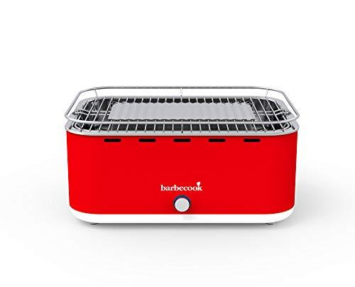 Barbacoa de carbón vegetal barbecook sin humo, con bolsa de transporte, adecuada para balcón, como barbacoa de camping para exteriores, con ventilador integrado, apta para lavavajillas, rojo