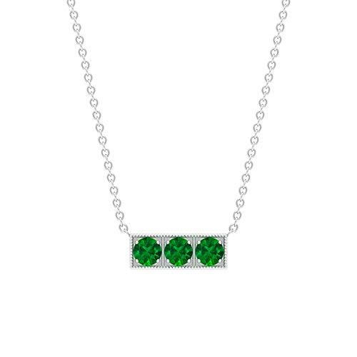 Colgante de barra de esmeralda, redondo, de 0,36 quilates, color verde, con cuentas de oro, con cuentas de tres collares de halo, color verde envejecido 18K Oro blanco