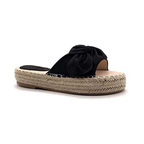 Angkorly - Damen Schuhe Espadrille Schuh-Mule - Folk/Ethnisch - Strand - Step - Bogen - mit Stroh - Geflochten Flache 3.5 cm - Schwarz 6 TT-61 T 40
