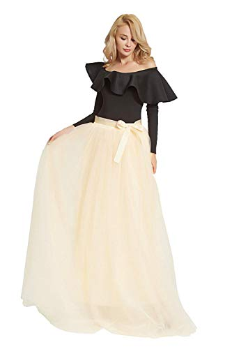 FOLOBE Women's 1950 Vintage Puffy Tutu Skirts Bridesmaid 7 Layers Petticoat Slip