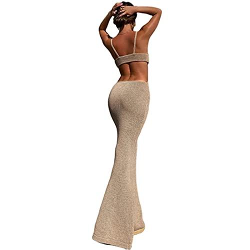 Chagoo Vacation Knitted Maxi Dress for Women Summer 2021, Vestido Ajustado sin Espalda con Escote Halter Sexy M Kakki