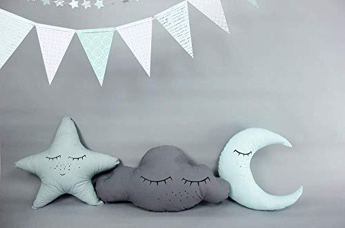 Kissenset *schlaf schön*, schlafende Wolke Stern & Mond, Baumwolle, Babyzimmer Deko, mint, deutsche Handarbeit