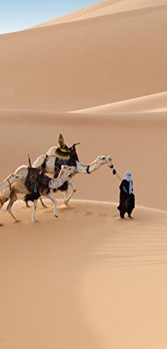 Deurbehang, deurposter, zelfklevend, karawane in de woestijn - 90 x 205 cm en 100 x 210 cm - fotobehang, poster, deurfolie, behang, T00143