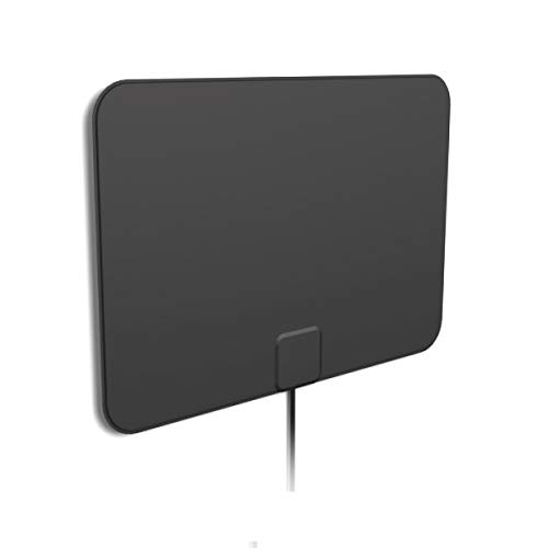 [2019 Latest] HD Digital Amplified TV Antenna – Support 4K 1080P & All Older TV's Indoor Powerful HDTV Amplifier Signal Booster - Coax Cable Included (Black)