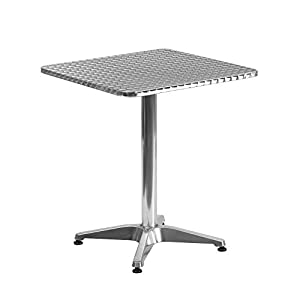 "Flash Furniture 23.5"" Square Aluminum Indoor-Outdoor Table with Base"