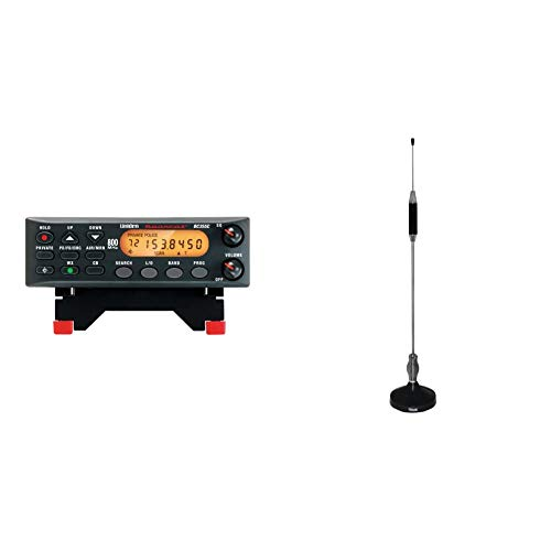 """Uniden BC355N 800 MHz 300-Channel Base/Mobile Scanner, Close Call RF Capture, Pre-Programmed Search """"Action"""" Bands, Black & Tram 703-HC Center Load CB Antenna Kit"""
