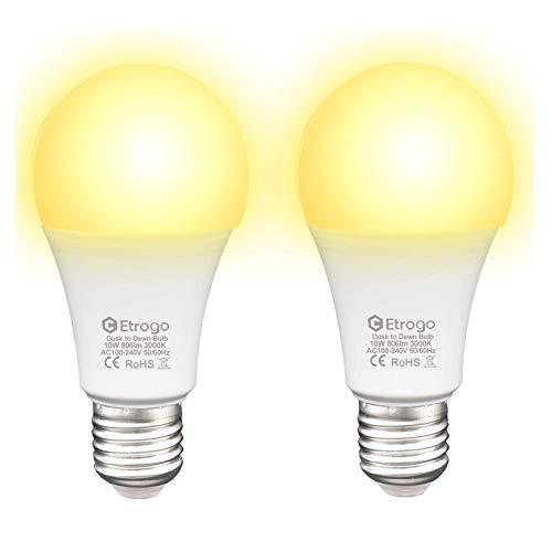 Etrogo Leuchtmittel mit Dämmerungssensor Lichtsensor Lampe LED E27 10W Ersetzt 100Watt Warmweiß 3000k 2 Stück