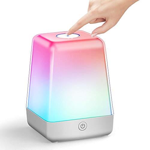ZEEFO - Luce notturna a LED, dimmerabile in 7 colori, lampada da comodino portatile ricaricabile con gancio, 72 ore di autonomia per bambini, ideale per camera da letto, campeggio, regali per bambini