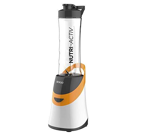 SOGO SS-5515-O Máquina de Hacer Batidos Nutri Activ 350W. Incluye Jarra portátil, Libre de BPA de 0.6L. Batidora de Smoothies Color: Naranja
