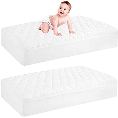 "2 Pack Waterproof Crib Mattress Protector, Quilted Fitted Baby Mattress Cover, Extra Soft Breathable Toddler Mattress Pad 52x28-fits up to 9"" , White from GRT"