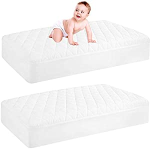 2 Pack Waterproof Crib Mattress Protector, Quilted Fitted Baby Mattress Cover, Extra Soft Breathable Toddler Mattress Pad 52″x28″-9″ Deep, White