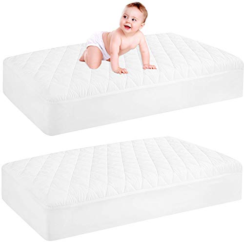 2 Pack Waterproof Crib Mattress Protector, Quilted Fitted...