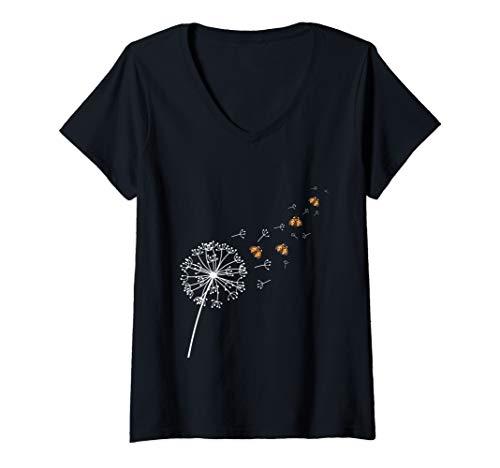 Damen Pusteblume Marienkäfer Geschenk Sommer Frühling T-Shirt mit V-Ausschnitt