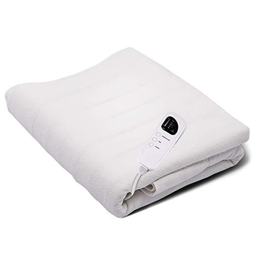 COSTWAY Wärmeunterbett mit Abschaltautomatik, Heizdecke fürs Bett, Wärmedecke elektrisch, Wärmebett 5 Temperaturstufen, mit Timerfunktion, 185x76cm, weiß